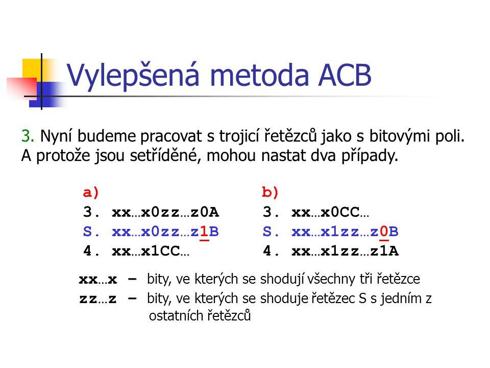Vylepšená metoda ACB 3. Nyní budeme pracovat s trojicí řetězců jako s bitovými poli.