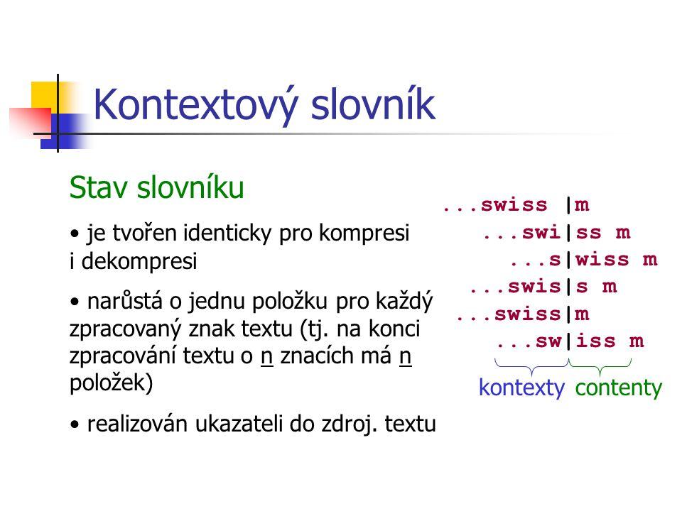 Kontextový slovník Stav slovníku je tvořen identicky pro kompresi i dekompresi narůstá o jednu položku pro každý zpracovaný znak textu (tj.