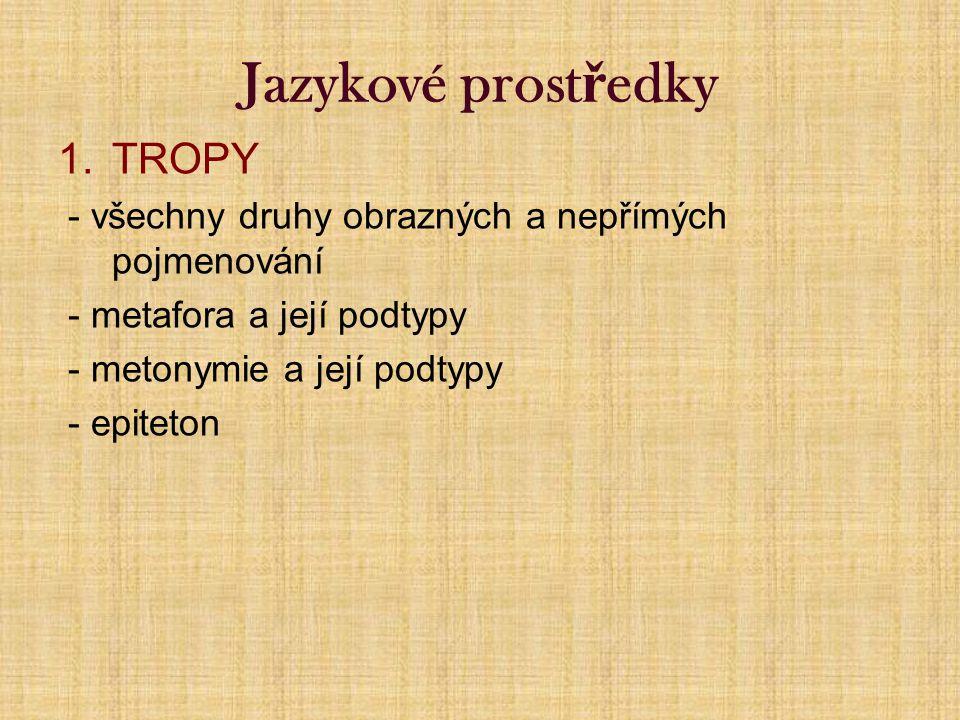 Jazykové prost ř edky 1.TROPY - všechny druhy obrazných a nepřímých pojmenování - metafora a její podtypy - metonymie a její podtypy - epiteton