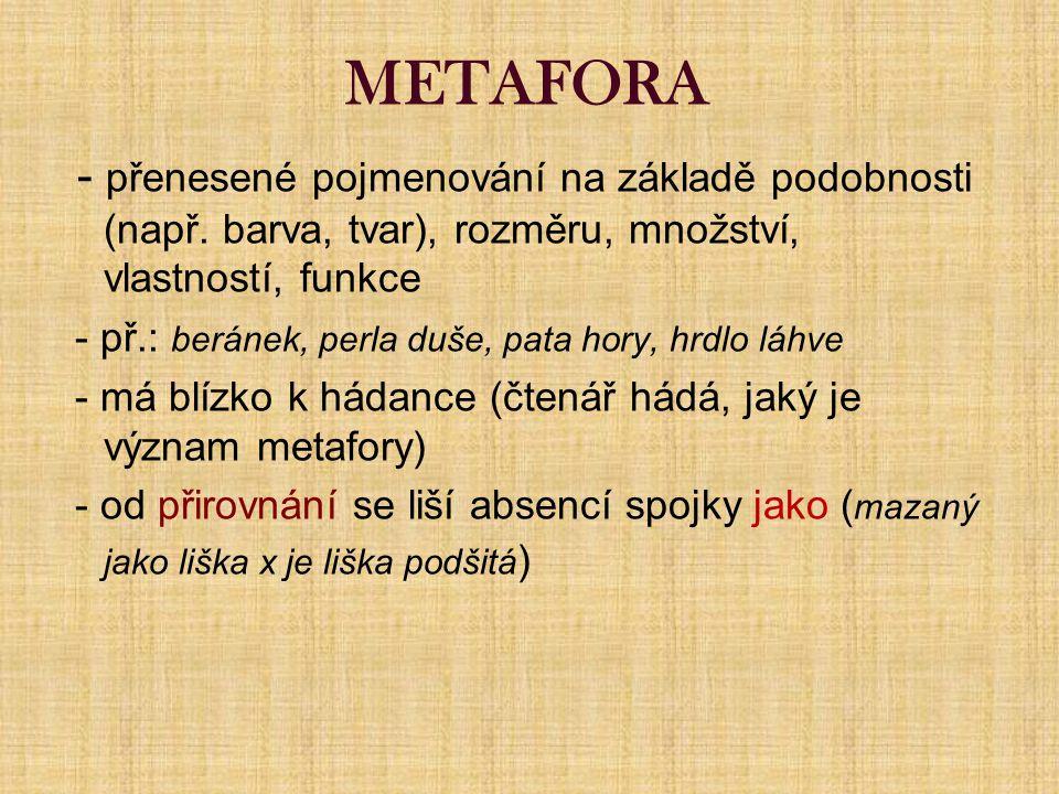 METAFORA - přenesené pojmenování na základě podobnosti (např.