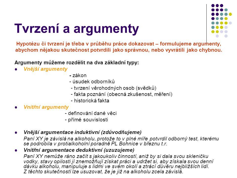 Tvrzení a argumenty Hypotézu či tvrzení je třeba v průběhu práce dokazovat – formulujeme argumenty, abychom nějakou skutečnost potvrdili jako správnou, nebo vyvrátili jako chybnou.