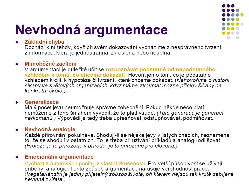 Přehled anatomických prvků textu Antitéma Tvrzení Réma Argument Hypotéza Cíl Téma