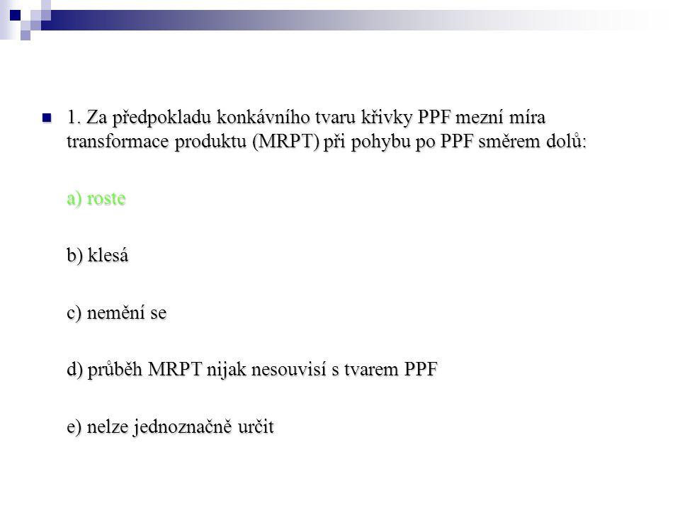 1. Za předpokladu konkávního tvaru křivky PPF mezní míra transformace produktu (MRPT) při pohybu po PPF směrem dolů: 1. Za předpokladu konkávního tvar