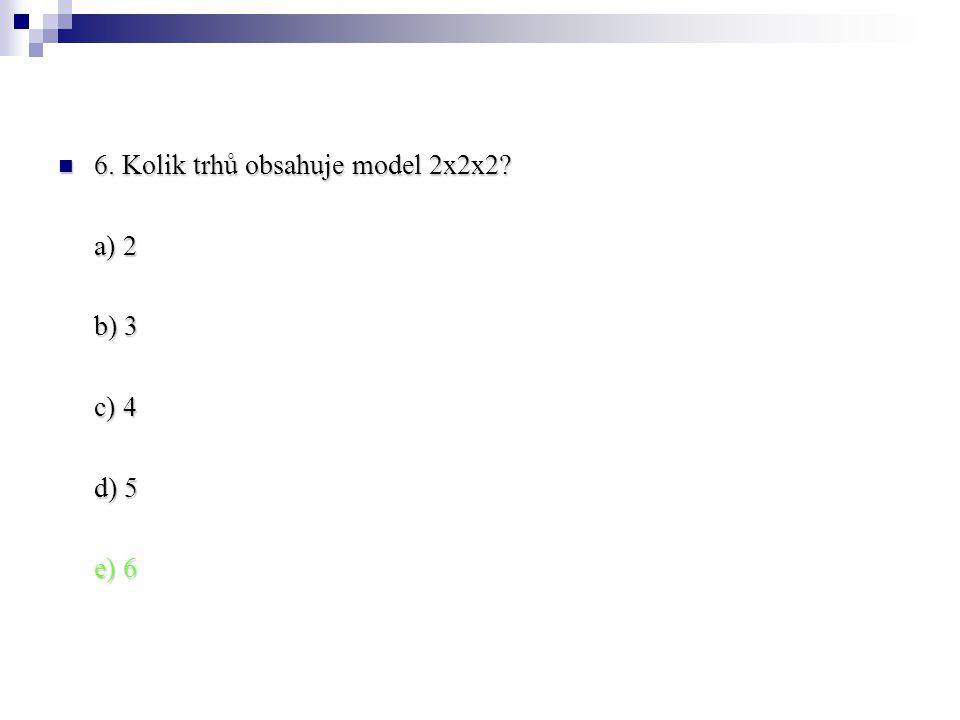 6. Kolik trhů obsahuje model 2x2x2? 6. Kolik trhů obsahuje model 2x2x2? a) 2 b) 3 c) 4 d) 5 e) 6