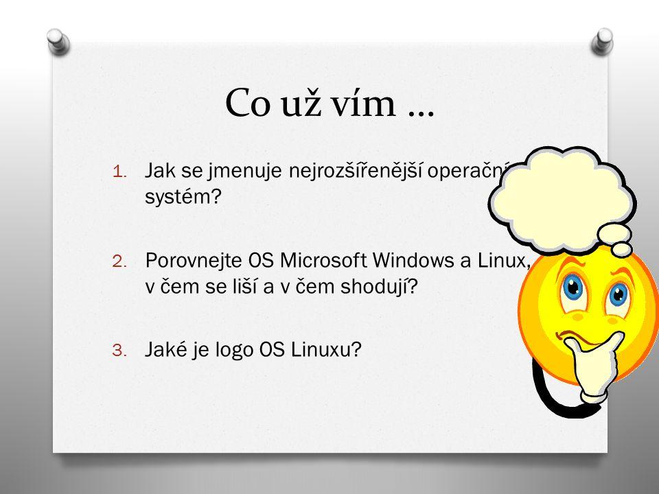 Co už vím … 1. Jak se jmenuje nejrozšířenější operační systém.