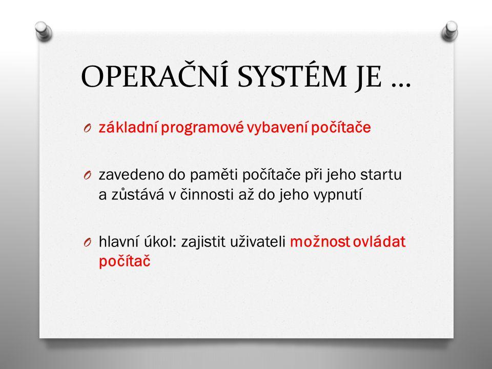 PŘEHLED NEJZNÁMĚJŠÍCH OPERAČNÍCH SYSTÉMŮ PC O MS DOS O MICROSOFT WINDOWS O LINUX O MAC OS X