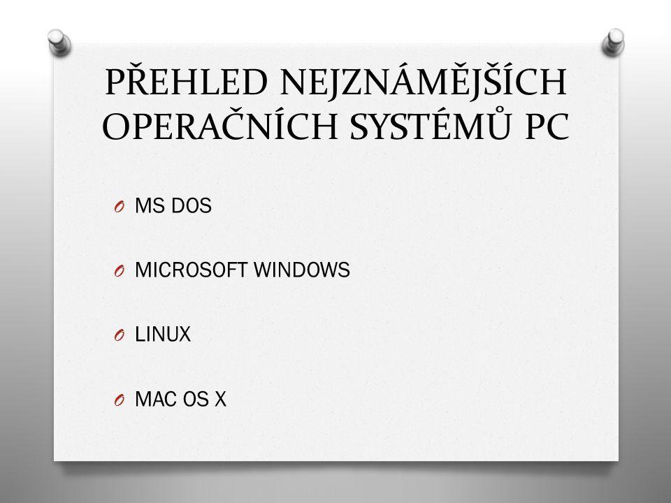 MS DOS O = diskový operační systém O byl jedním z prvních operačních systémů pro PC O vyráběn firmou Microsoft O velmi jednoduchý, dnes se už nepoužívá O pracovat na něm může pouze jeden uživatel O smí být puštěn pouze jeden program