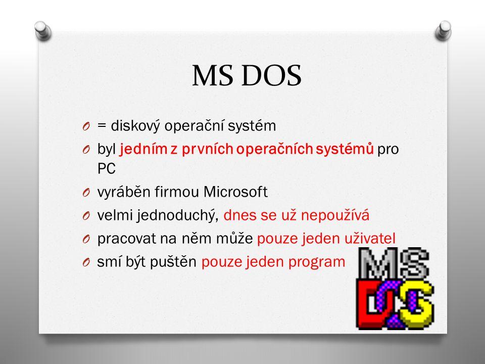 MICROSOFT WINDOWS O nejrozšířenější operační systémy O umožňuje mít spuštěných dohromady více programů O může na něm pracovat více uživatelů zároveň (uživatelské účty) O nejčastější druhy v našich počítačích: O Win 2000, Win XP, Win Vista, Win 7 O některé druhy systémů Windows se používají v PDA nebo chytrých telefonech