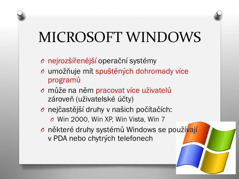 LINUX O operační systém, který je volně šiřitelný – může se volně používat, kopírovat, sdílet (za Windows či DOS musíme platit) O umožňuje mít spuštěných dohromady více programů O může na něm pracovat více uživatelů zároveň (uživatelské účty) O logem a maskotem Linuxu je tučňák Tux
