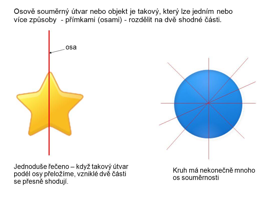 Zobrazení bodu A v osové souměrnosti s osou o: A o A´ Vzor A i jeho obraz A´ jsou stejně vzdáleny od osy o Polopřímka AA´je kolmá na osu o (vzdálenost se vždycky měří po kolmici).