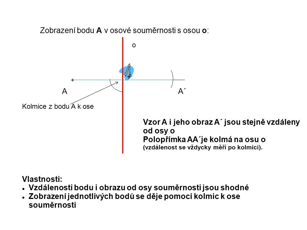 Osová souměrnost je zobrazení, které zobrazuje bod (útvar) pomocí osy souměrnosti, získáváme jeho shodný obraz (bod nebo útvar A B C o B´ C´ A ´ P1P1 P2P2 P3P3 Platí:  AP 1   =  P 1 A´ ...
