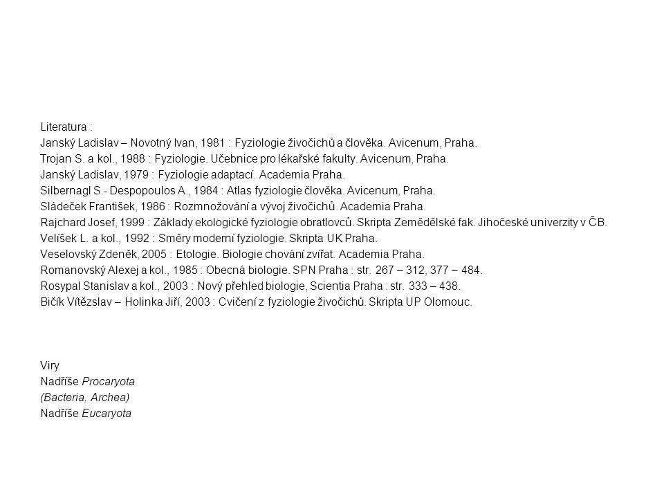 Literatura : Janský Ladislav – Novotný Ivan, 1981 : Fyziologie živočichů a člověka.