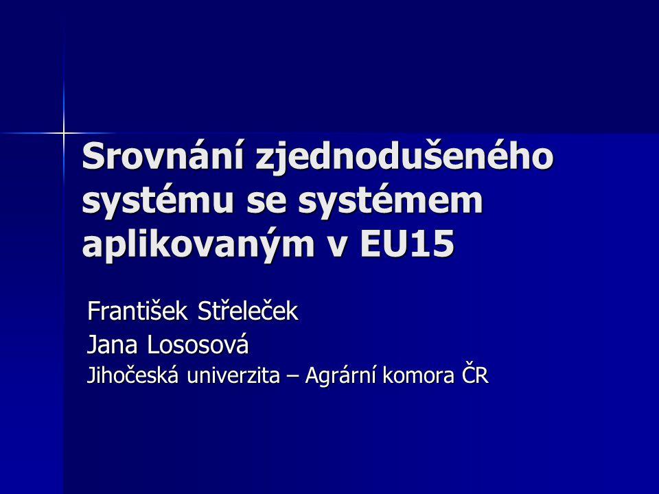 Srovnání zjednodušeného systému se systémem aplikovaným v EU15 František Střeleček Jana Lososová Jihočeská univerzita – Agrární komora ČR