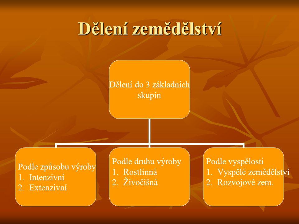 Dělení zemědělství Dělení do 3 základních skupin Podle způsobu výroby 1.