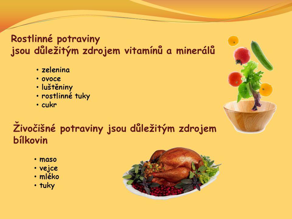 zelenina ovoce luštěniny rostlinné tuky cukr maso vejce mléko tuky Rostlinné potraviny jsou důležitým zdrojem vitamínů a minerálů Živočišné potraviny
