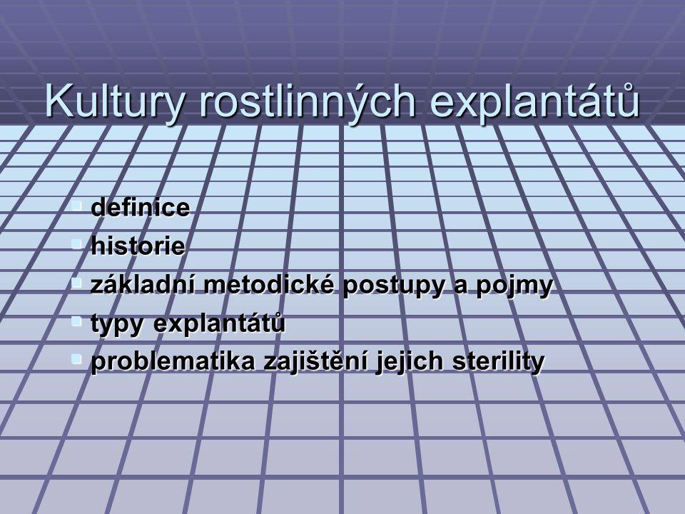 Kultury rostlinných explantátů  definice  historie  základní metodické postupy a pojmy  typy explantátů  problematika zajištění jejich sterility