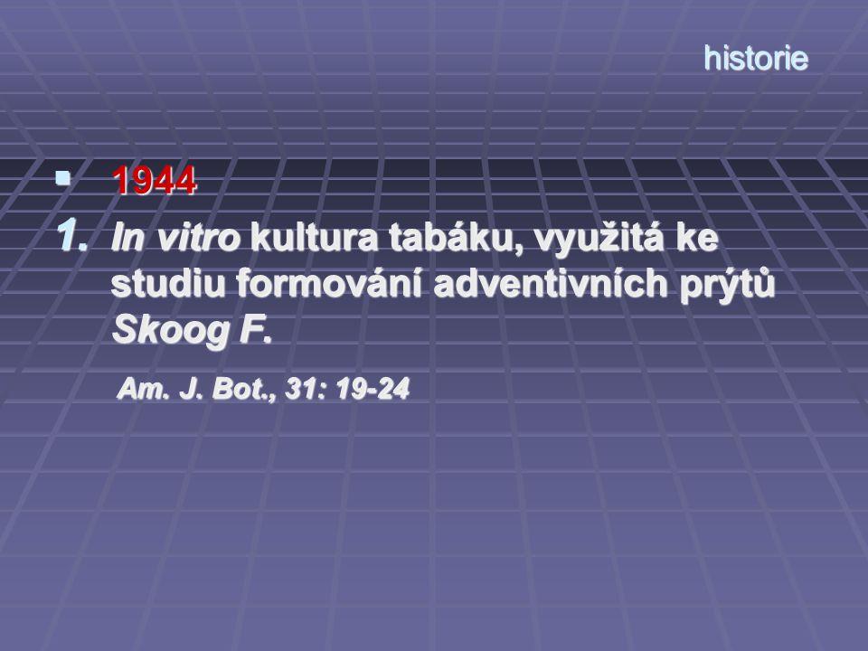 historie  1944 1. In vitro kultura tabáku, využitá ke studiu formování adventivních prýtů Skoog F. Am. J. Bot., 31: 19-24 Am. J. Bot., 31: 19-24