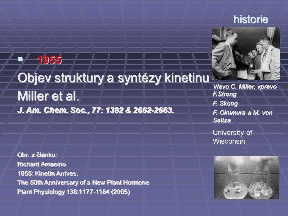 historie  1955 Objev struktury a syntézy kinetinu Miller et al. J. Am. Chem. Soc., 77: 1392 & 2662-2663. Obr. z článku: Richard Amasino 1955: Kinetin