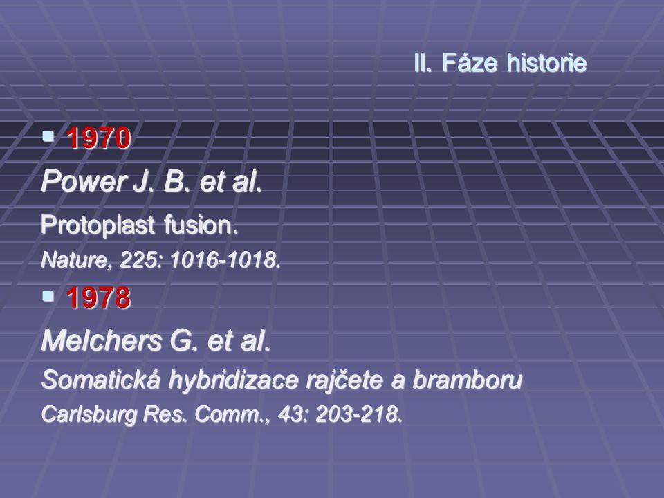  1970 Power J. B. et al. Protoplast fusion. Nature, 225: 1016-1018.  1978 Melchers G. et al. Somatická hybridizace rajčete a bramboru Carlsburg Res.
