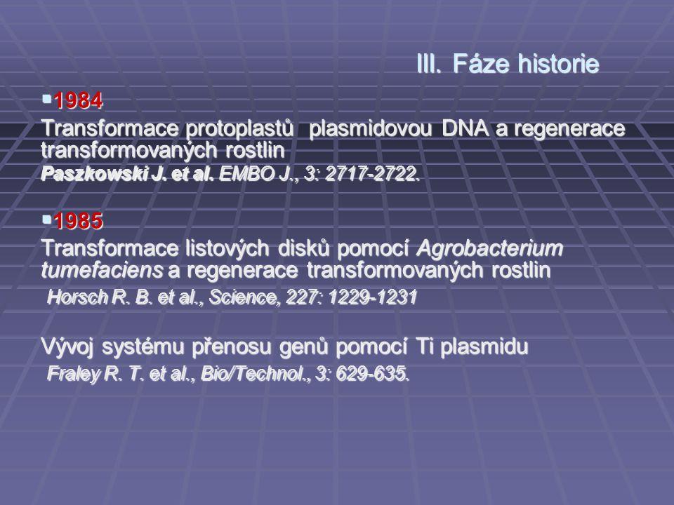  1984 Transformace protoplastů plasmidovou DNA a regenerace transformovaných rostlin Paszkowski J. et al. EMBO J., 3: 2717-2722.  1985 Transformace
