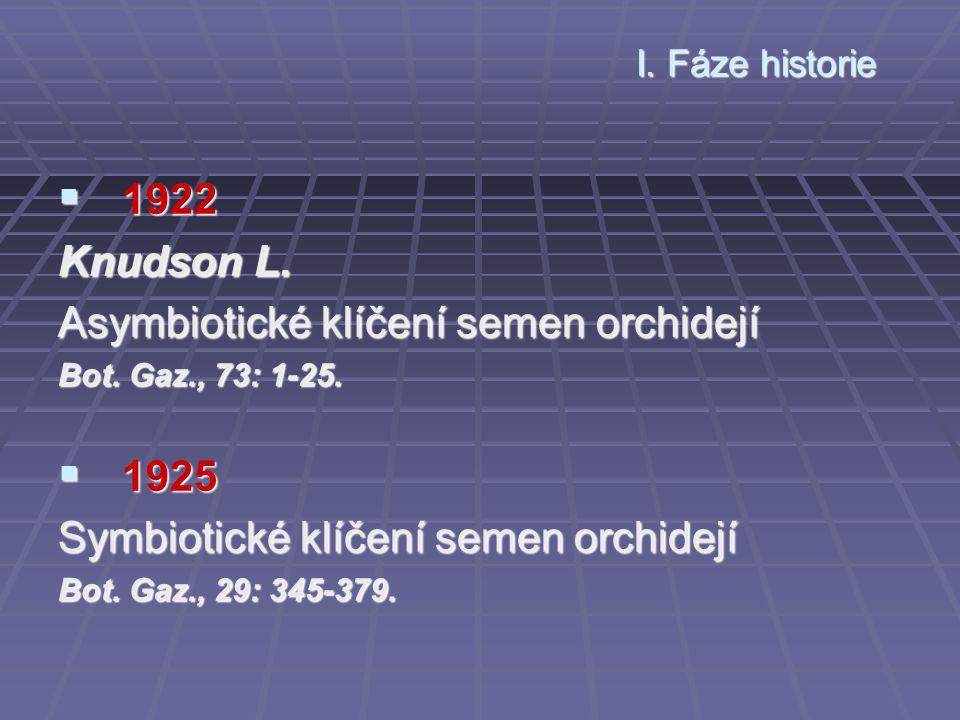 I. Fáze historie  1922 Knudson L. Asymbiotické klíčení semen orchidejí Bot. Gaz., 73: 1-25.  1925 Symbiotické klíčení semen orchidejí Bot. Gaz., 29: