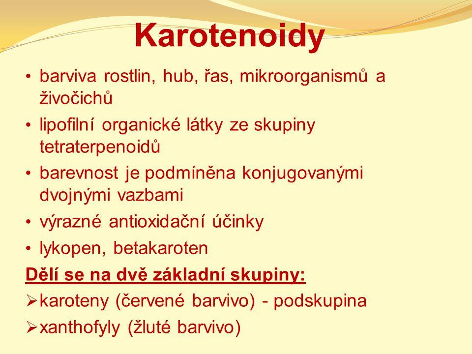 Karotenoidy barviva rostlin, hub, řas, mikroorganismů a živočichů lipofilní organické látky ze skupiny tetraterpenoidů barevnost je podmíněna konjugov