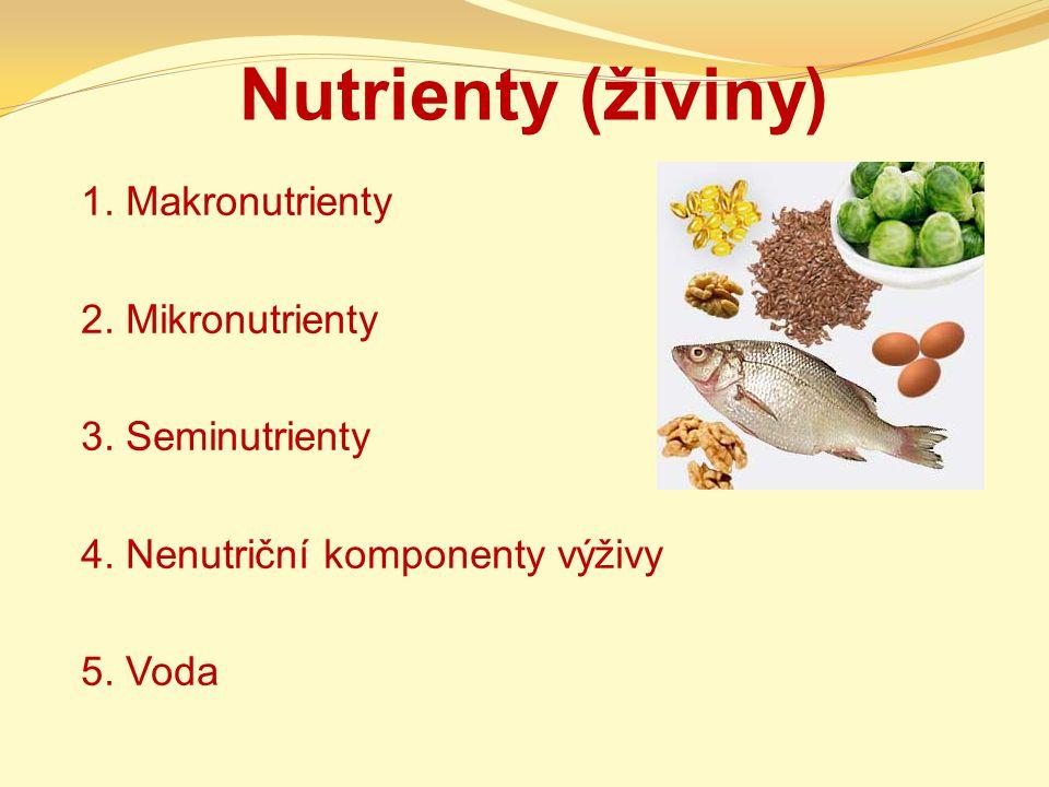 Nutrienty (živiny) 1. Makronutrienty 2. Mikronutrienty 3. Seminutrienty 4. Nenutriční komponenty výživy 5. Voda