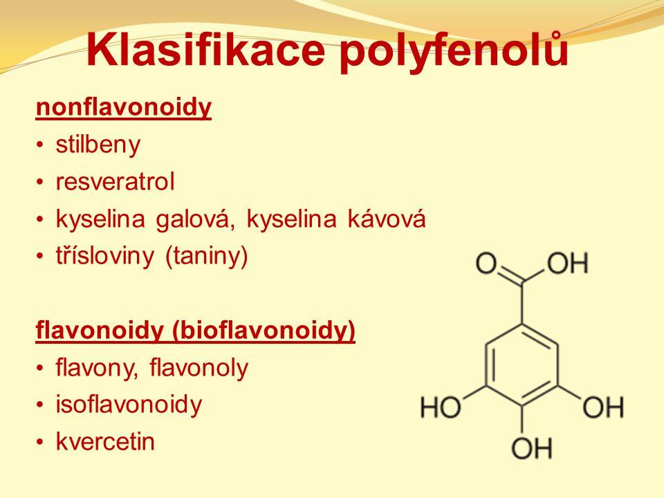 Klasifikace polyfenolů nonflavonoidy stilbeny resveratrol kyselina galová, kyselina kávová třísloviny (taniny) flavonoidy (bioflavonoidy) flavony, fla