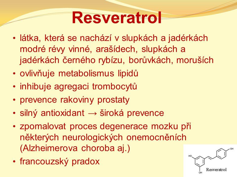 Resveratrol látka, která se nachází v slupkách a jadérkách modré révy vinné, arašídech, slupkách a jadérkách černého rybízu, borůvkách, moruších ovliv