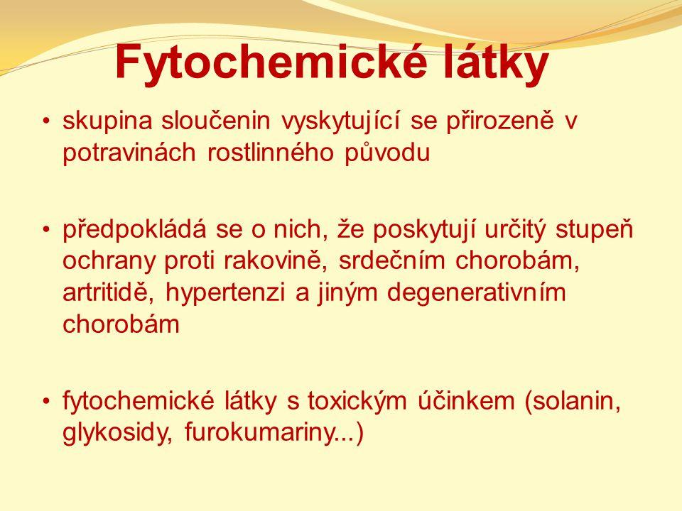 Definice látky obsažené v rostlinách, mnohé z nich jsou schopny nejrůznějšími mechanismy příznivě ovlivňovat zdraví člověka doposud bylo identifikováno asi 12 000 fytochemikálií v jednom kusu ovoce desítky až stovky fytochemikálií