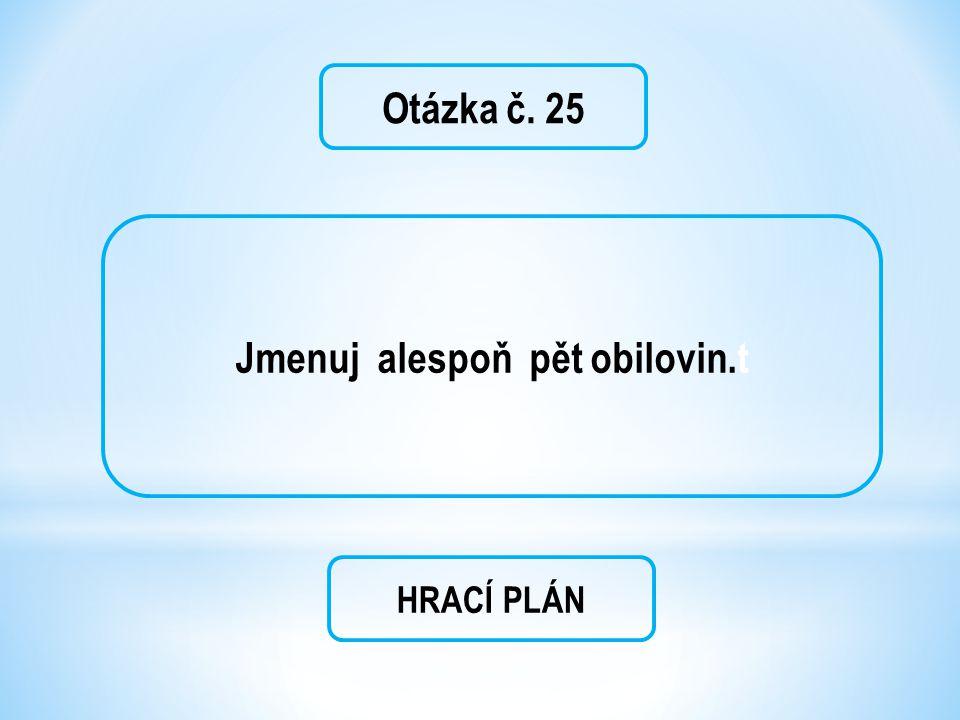 Otázka č. 25 Jmenuj alespoň pět obilovin.t HRACÍ PLÁN