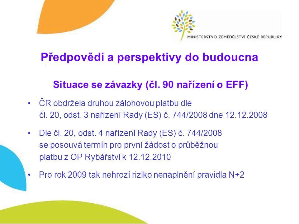 Předpovědi a perspektivy do budoucna Situace se závazky (čl. 90 nařízení o EFF) ČR obdržela druhou zálohovou platbu dle čl. 20, odst. 3 nařízení Rady