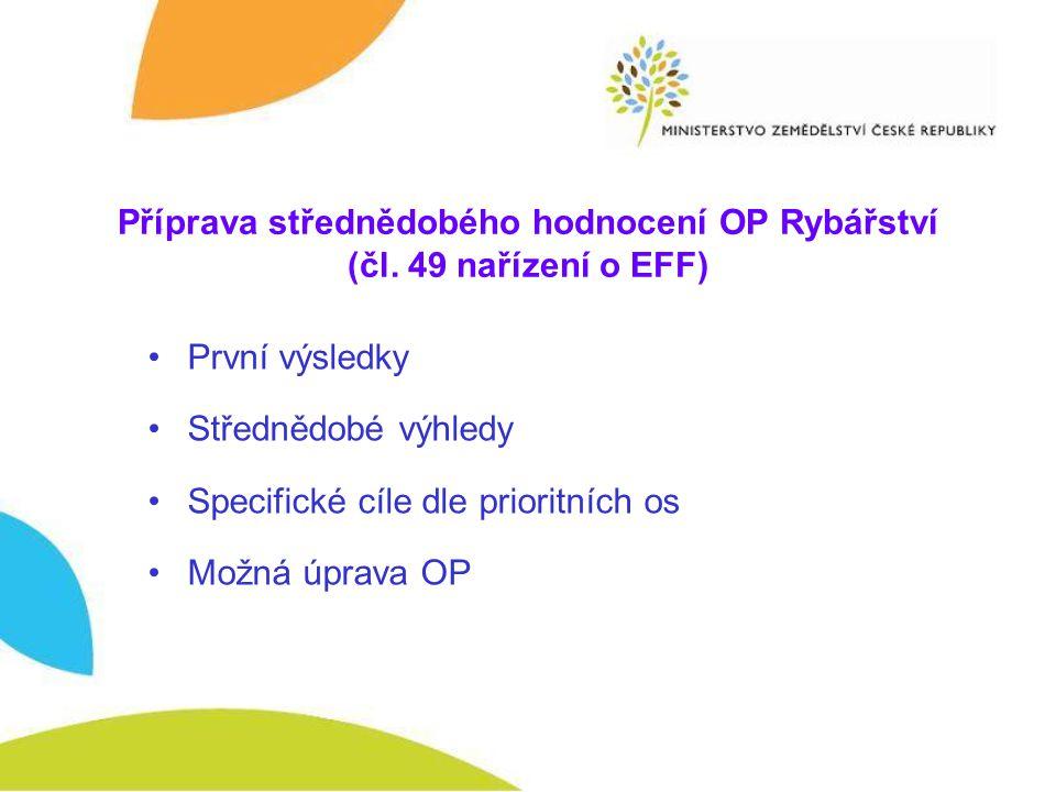 Příprava střednědobého hodnocení OP Rybářství (čl. 49 nařízení o EFF) První výsledky Střednědobé výhledy Specifické cíle dle prioritních os Možná úpra