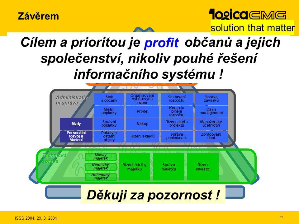 ISSS 2004, 29. 3. 2004 20 Děkuji za pozornost ! Závěrem 3. Volba systému podporujícího znalosti solution that matter 1. Veřejná správa je produkční sy