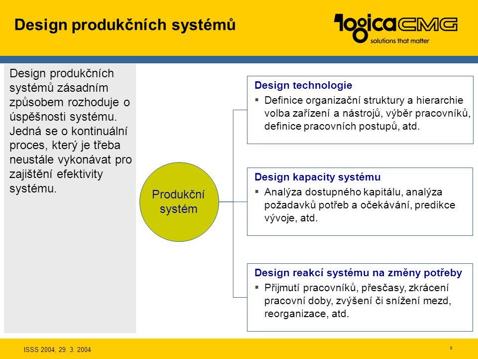 ISSS 2004, 29. 3. 2004 5 Typy produkčních systémů Na všechny produkční systémy můžeme na abstraktní úrovni pohlížet jako na