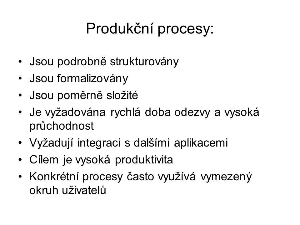 Produkční procesy: Jsou podrobně strukturovány Jsou formalizovány Jsou poměrně složité Je vyžadována rychlá doba odezvy a vysoká průchodnost Vyžadují