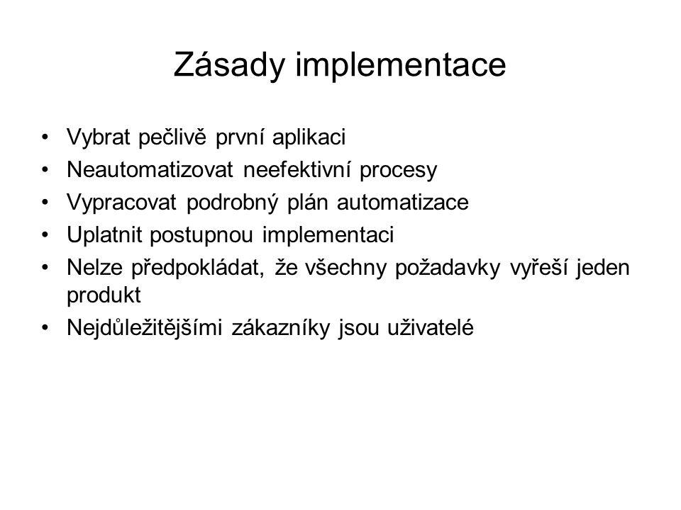 Zásady implementace Vybrat pečlivě první aplikaci Neautomatizovat neefektivní procesy Vypracovat podrobný plán automatizace Uplatnit postupnou implementaci Nelze předpokládat, že všechny požadavky vyřeší jeden produkt Nejdůležitějšími zákazníky jsou uživatelé
