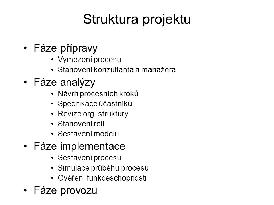 Struktura projektu Fáze přípravy Vymezení procesu Stanovení konzultanta a manažera Fáze analýzy Návrh procesních kroků Specifikace účastníků Revize org.