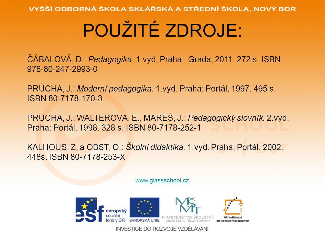 POUŽITÉ ZDROJE: www.glassschool.cz ČÁBALOVÁ, D.: Pedagogika. 1.vyd. Praha: Grada, 2011. 272 s. ISBN 978-80-247-2993-0 PRŮCHA, J.: Moderní pedagogika.