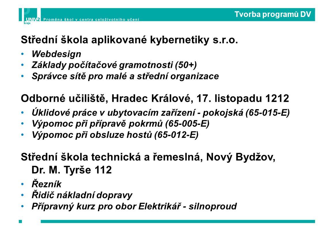 Tvorba programů DV Střední škola aplikované kybernetiky s.r.o.