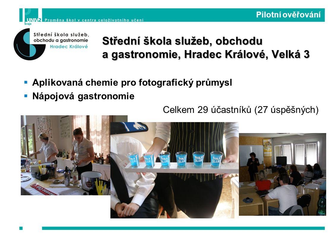  Aplikovaná chemie pro fotografický průmysl  Nápojová gastronomie Celkem 29 účastníků (27 úspěšných) Pilotní ověřování Střední škola služeb, obchodu a gastronomie, Hradec Králové, Velká 3
