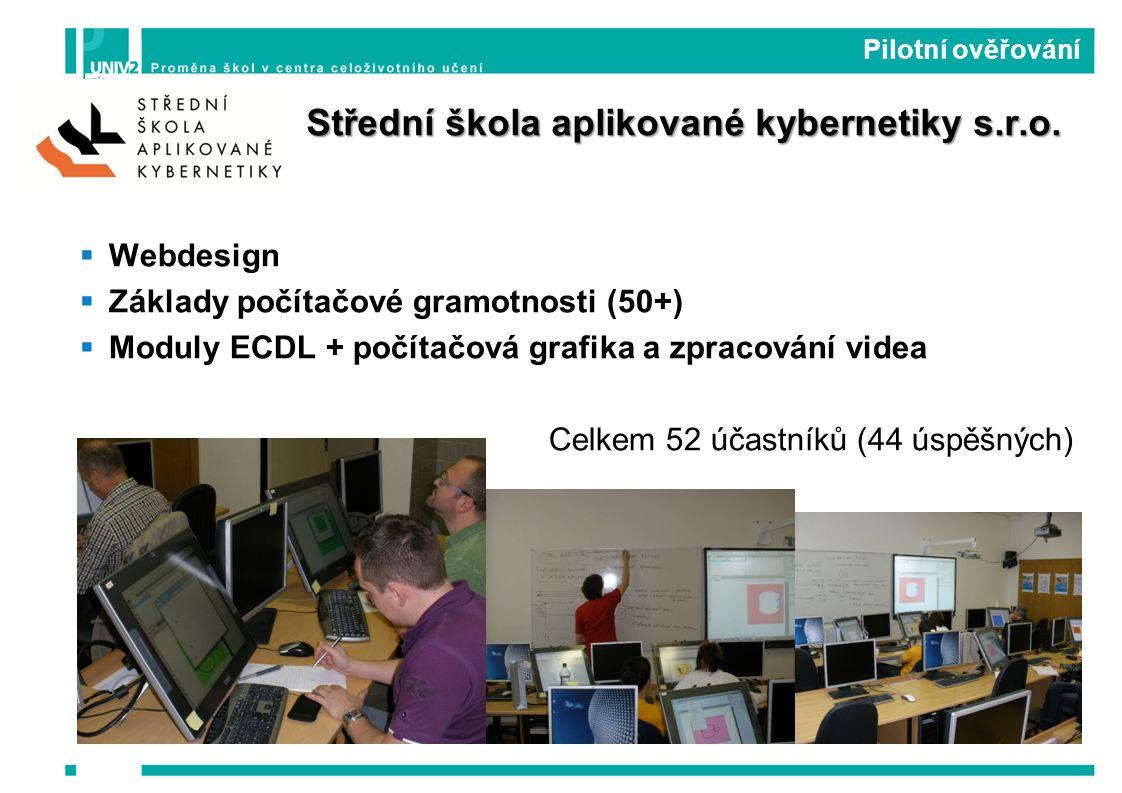  Webdesign  Základy počítačové gramotnosti (50+)  Moduly ECDL + počítačová grafika a zpracování videa Celkem 52 účastníků (44 úspěšných) Pilotní ověřování Střední škola aplikované kybernetiky s.r.o.