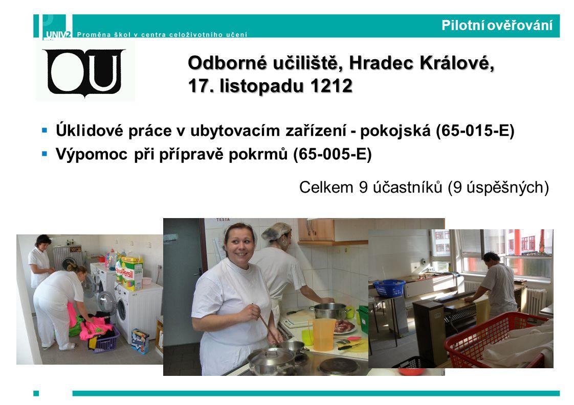  Úklidové práce v ubytovacím zařízení - pokojská (65-015-E)  Výpomoc při přípravě pokrmů (65-005-E) Celkem 9 účastníků (9 úspěšných) Pilotní ověřování Odborné učiliště, Hradec Králové, 17.