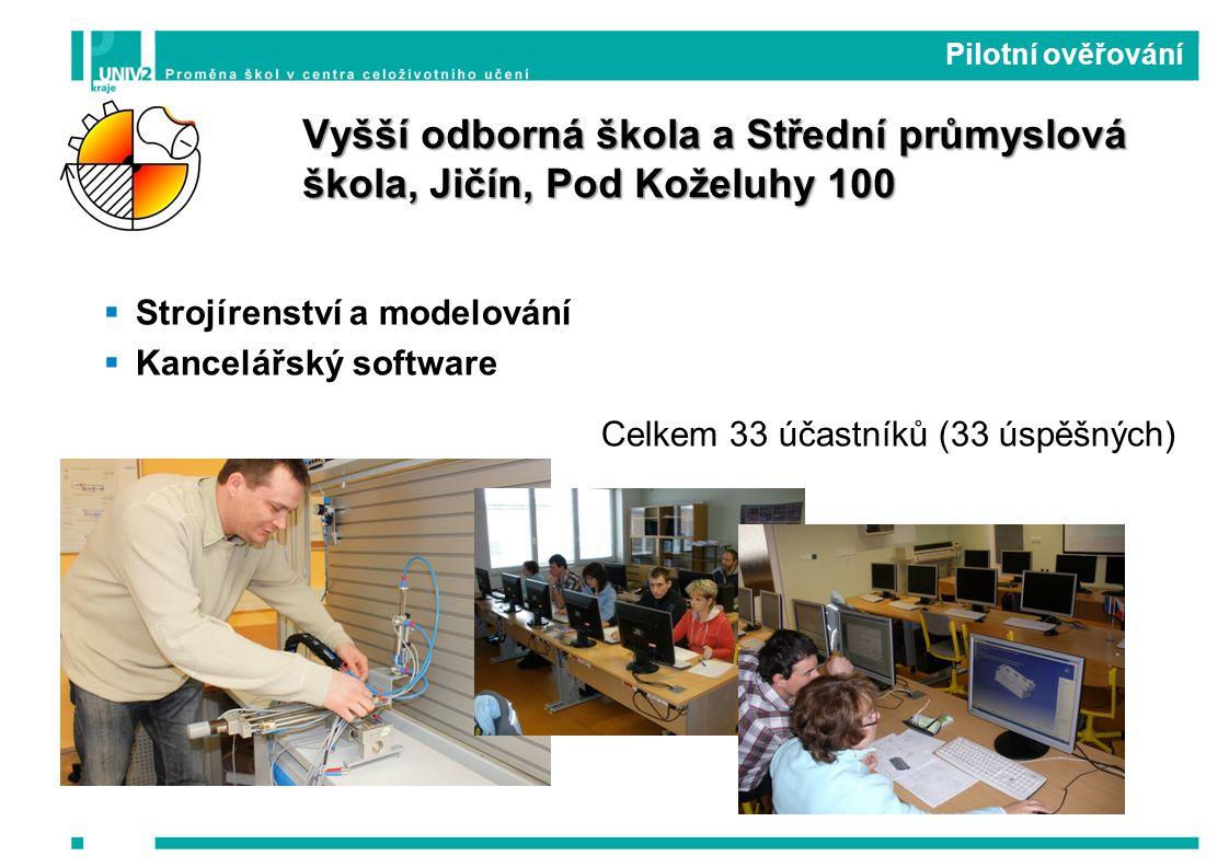 Strojírenství a modelování  Kancelářský software Celkem 33 účastníků (33 úspěšných) Pilotní ověřování Vyšší odborná škola a Střední průmyslová škola, Jičín, Pod Koželuhy 100