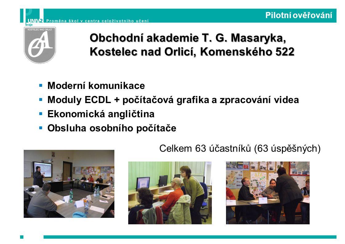  Moderní komunikace  Moduly ECDL + počítačová grafika a zpracování videa  Ekonomická angličtina  Obsluha osobního počítače Celkem 63 účastníků (63 úspěšných) Pilotní ověřování Obchodní akademie T.