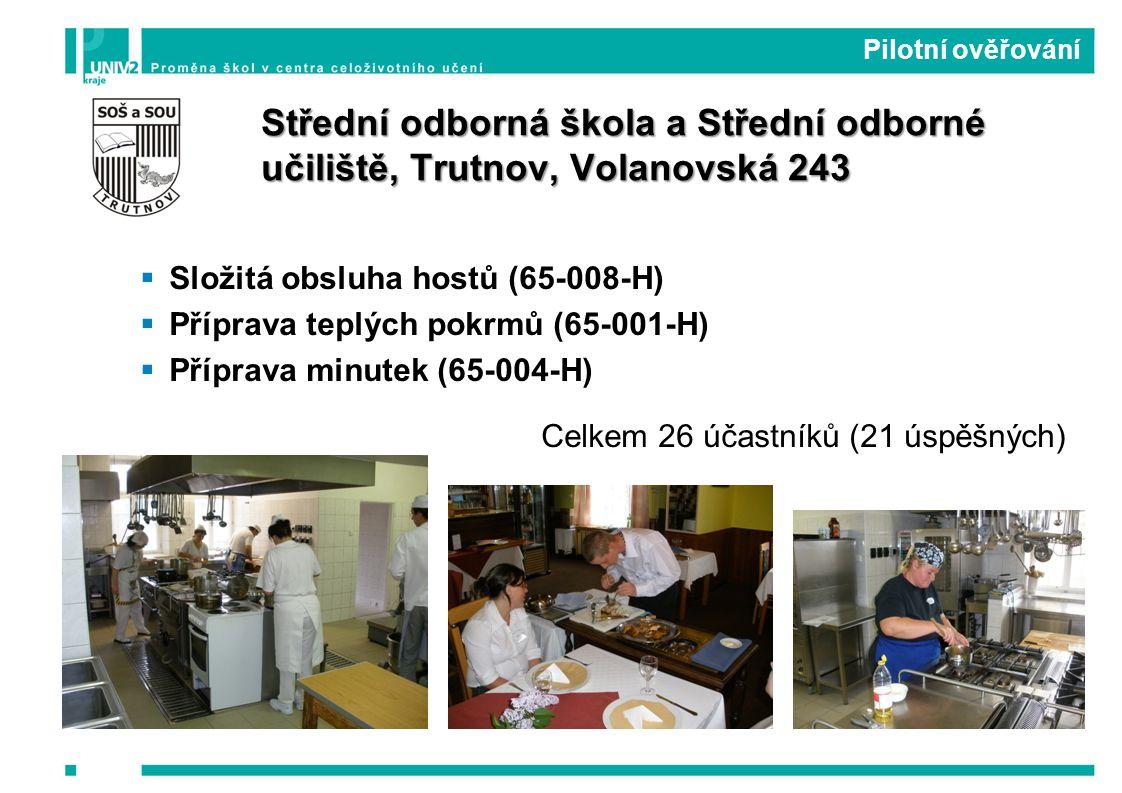  Složitá obsluha hostů (65-008-H)  Příprava teplých pokrmů (65-001-H)  Příprava minutek (65-004-H) Celkem 26 účastníků (21 úspěšných) Pilotní ověřování Střední odborná škola a Střední odborné učiliště, Trutnov, Volanovská 243