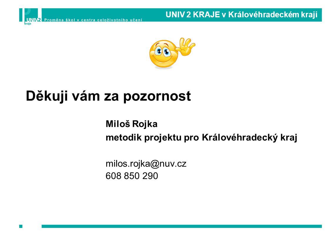 UNIV 2 KRAJE v Královéhradeckém kraji Miloš Rojka metodik projektu pro Královéhradecký kraj milos.rojka@nuv.cz 608 850 290 Děkuji vám za pozornost
