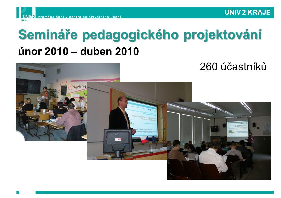 UNIV 2 KRAJE Semináře pedagogického projektování únor 2010 – duben 2010 260 účastníků