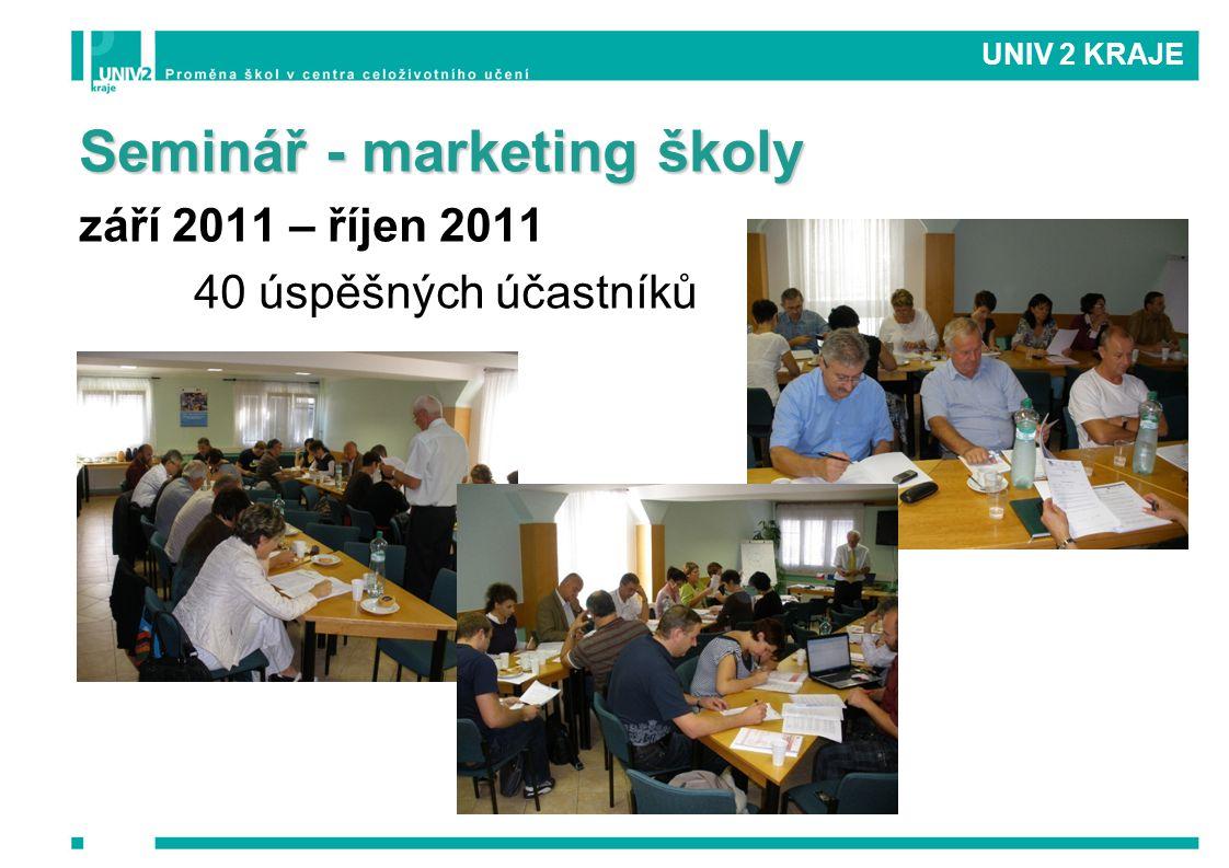Seminář - marketing školy září 2011 – říjen 2011 40 úspěšných účastníků UNIV 2 KRAJE