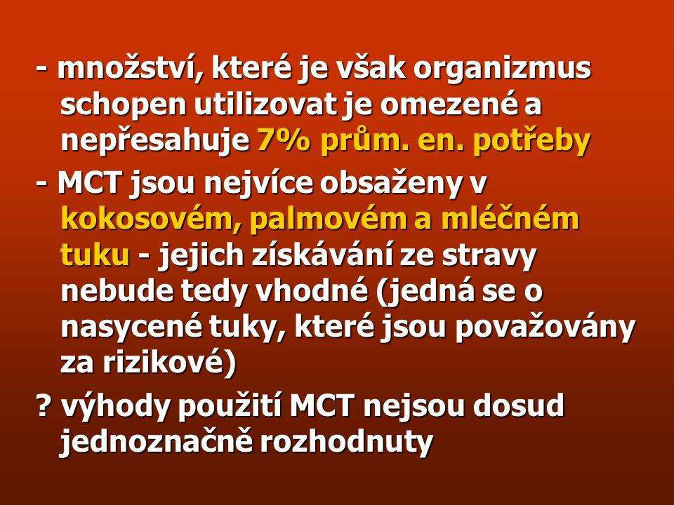 Využití MCT (medium chain TGC: C6-C12) + jejich resorpční i en. dostupnost je vysoká + jsou rozpustnější ve vodě a neinhibují motilitu žaludku + oxida